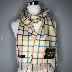 J.CREW 100/% pure cashmere scarf muffler wrap olive green plaid tartan check NWT